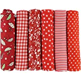 6pcs 50 x 50cm Patchwork Cotton Fabric DIY Handmade Sewing Quilting Fabric Different Designs (Tone-Red)