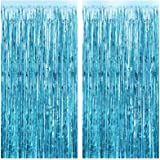 FECEDY 2pcs 3ft x 8.3ft Light Blue Metallic Tinsel Foil Fringe Curtains Photo Booth Props for Birthday Wedding Engagement Bri