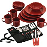 Coleman Speckled Enamelware テーブルウェアセット Dining Kit (Red) [並行輸…