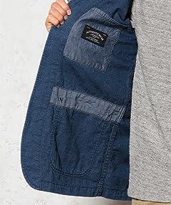 Indigo No Collar Work Jacket 3225-199-1871: Cobalt