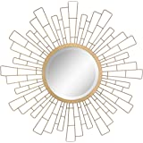 "Stonebriar Round Decorative Antique Gold 23"" Geometric Metal Sunburst Hanging Mirror for Wall, Modern Boho Decor for The Livi"