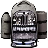 Hap Tim Picnic Backpack Cooler for 4 Person with Insulated Leakproof Cooler Bag, Wine Holder, Fleece Blanket, Cutlery Set,Per