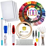 - Full Range of Magic Embroidery Pen Punch Needle,3 Pieces Bamboo Embroidery Hoops,100 Colour Threads and Cross Stitch...