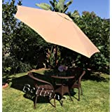 """BELLRINO DECOR Replacement Light Coffee/TAN"""" Strong and Thick"""" Umbrella Canopy for 9ft 8 Ribs Light Coffee/TAN (Canopy Only)"""