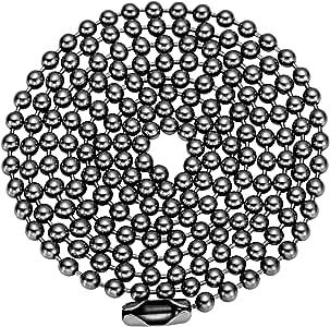 ボールチェーン チタン製ネックレス アクセサリー用チェーン コネクタ付き メンズ レディース ペンダント用チェーン パーツ アレルギーフリー コネクタ接続タイプ ボール径2.4mm/長さ60cm シルバー