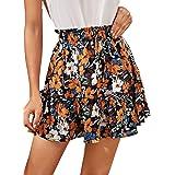 Milumia Women Boho Floral Print Paperbag High Waist Vacation Flared Mini Skirt