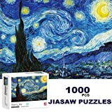 """Jigsaw Puzzle 1000 Piece Starry Night by Vincent Van Gogh Puzzle for Kids Adult Space 28"""" L x 20"""" W Jigsaw Puzzle Stress Reli"""