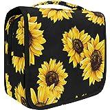 Hanging Travel Toiletry Bag Kit Makeup Case Cosmetics Organizer for Men Women (Sunflower Black)