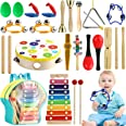 Tobeape Musical Percussion Instrument Set, 25 Pcs Toddler Musical Education Instruments Toys Wooden Percussion Toys and Rhyth