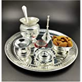 NOBILITY Premium Silver Plated Puja Thali Set 08 Inch with German Silver Coin Pooja Thali Set Items for Diwali, Home, Temple,