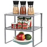 Spice Rack Cabinet Shelf Organizers, Set of 2 Kitchen Shelves for Counter Cupboard Pantry Bathroom, Stackable Expandable Stor