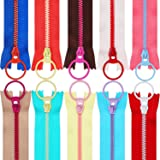 (30cm ) - TecUnite 20 Pieces Plastic Resin Zippers with Lifting Ring Quoit Colourful Zipper for Tailor Sewing Crafts Bag Garm