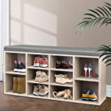 Artiss 10 Pairs Fabric Upholstered Shoe Bench, 102cm Length Wooden Storage Cabinet for Entryway Living Room, Natural