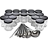 Sherfire Set of 16 Hexagonal 45 ml Spice Jars with Labels and Black Magnetic Stainless Steel Lids, Set of Stainless Steel Mea