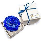 CURAS 天然ダイヤモンド入りラメを散りばめたプリザーブドフラワーローズ (ブルー 白BOX)