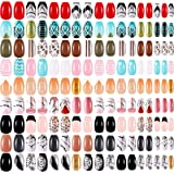 216 Pieces Short Coffin Press on Nails Ballerina False Nails Glitter Glossy Full Cover Artificial Nail Colorful Glitter False