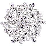 EVER FAITH Wedding Corsage Jewelry Austrian Crystal Elegant Flower Wreath Brooch Pin for Women
