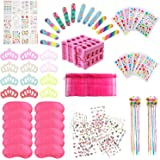 Spa Party Supplies for Girls with 120PCS Multiple Kids Spa Party Favors 12 Bags 12 Body Jewels 12 Colored Hair Clip Braids 12
