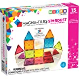 Magna-Tiles 18915 15Piece Stardust Set, The Original, Award-Winning Magnetic Building Tiles, Creativity & Educational, Stem A
