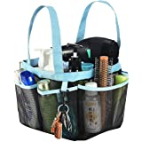 Haundry Mesh Shower Caddy Tote, Large College Dorm Bathroom Caddy Organizer with Key Hook and 2 Oxford Handles,8 Basket Pocke
