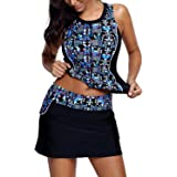 AlvaQ Women's Printed Two Piece Swimsuits Tankini Tops with Skirt S-3XL