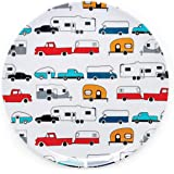 Camco Life is Better at The Campsite Large Dinner Plate - White with Multicolor Retro RV, Camper, and Trailer Print, BPA Free
