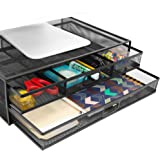 MOUNT-IT! Mesh Computer Monitor Stand Riser [Metal] Desk Organizer with Two Pullout Storage Drawers for Desktop, Laptop, and