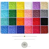 BALABEAD Size Almost Uniform Glass Seed Beads 24 Colors in Box Opaque Matte Colors Seed Beads 12/0 Glass Craft Beads 2mm Seed