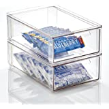 mDesign Plastic Stackable Kitchen Pantry Cabinet, Refrigerator or Freezer Food Storage Bin with Pull-Out Drawer - Organizer f