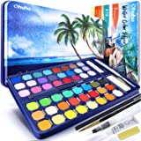 Watercolour Paint Set with Watercolour Paper, Ohuhu All-in-One Watercolor Set with Premium 48-Color Palette, Water Brush Pen