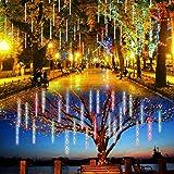 Lalapao Outdoor Christmas String Lights Solar Powered LED Meteor Shower Rain Lights Falling Raindrop Light 10 Tubes 360 LED C