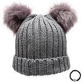 Epoch Women's Winter Chunky Knit Double Pom Pom Beanie Hat with Hair Tie.