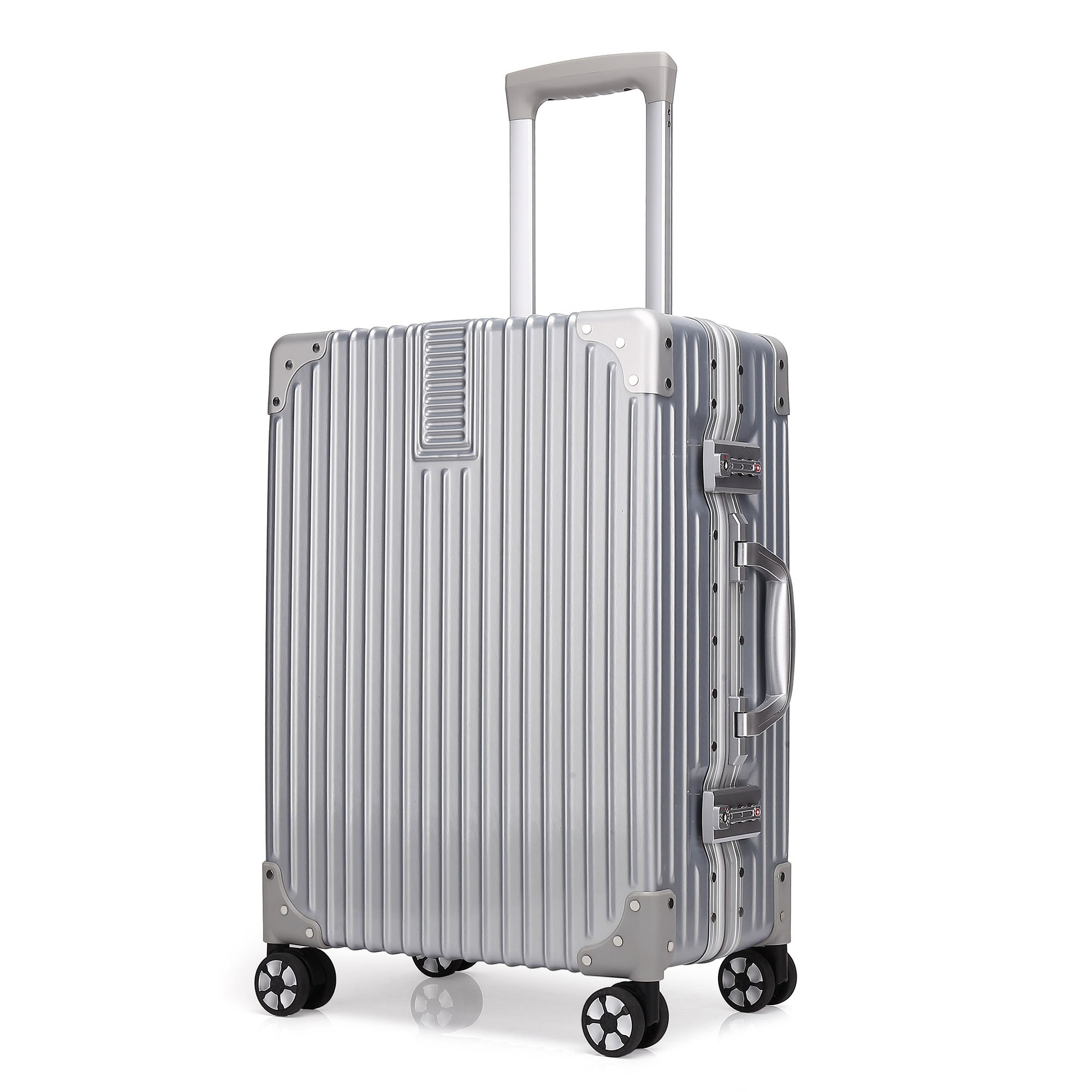 Kroeus スーツケース 大型 軽量 人気 キャリーケース 旅行用品 出張 TSAロック搭載 機内持込可 大容量 耐衝撃 ヘアライン仕上げ 4輪ダブルキャスター 静音 s シルバー