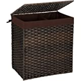 ALINK Divided Foldable Handwoven Laundry Hamper, 110L Waterproof Synthetic Rattan Two Section Clothes Basket, with Lid, Handl