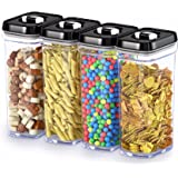 DWËLLZA KITCHEN Airtight Food Storage Containers with Lids – 4 Piece Set/All Same Size - Medium Air Tight Clear Plastic Pantr