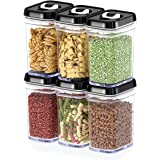 Dwellza Kitchen Airtight Food Storage Containers with Lids - 6 Piece Set/All Same Size - Medium Air Tight Clear Durable Plast