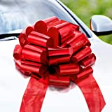 Zoe Deco Big Car Bow (Red, 46 cm), Gift Bows, Giant Bow for Car, Birthday Bow, Huge Car Bow, Car Bows, Big Red Bow, Bow for G