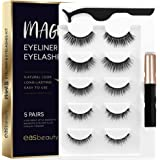 easbeauty 2020 Upgraded Magnetic Eyeliner and Eyelashes Kit, Magnetic Eyelashes with Eyeliner, False Lashes 5 Pairs with Twee