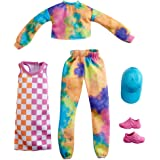 Barbie Fashions 2-Pack Clothing Set, 2 Outfits for Barbie Doll Include Tie-Dye Joggers & Sweatshirt, Checked Dress, Blue Cap