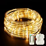 Fitybow Rope Lights Battery Operated 8 Modes 40FT String Lights Dimmable Fairy Lights with Remote Timer, Decoration Lighting