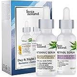 Day & Night Duo Bundle - Vitamin C Serum & Retinol Serum - Natural & Organic Anti Aging Formula for Face - Improve Skin Textu