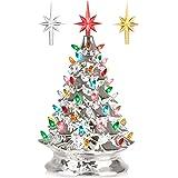RJ Legend 15-Inch Silver Christmas Mini Ceramic Tree – Festive Lighted Christmas Tree Décor – Vintage Tabletop Christmas Deco