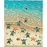 Dawhud Direct Turtles on The Beach Fleece Throw Blanket