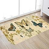 JINYAO Butterfly Love Print Foam Bathroom Carpet and Door Mat Non-Slip Water Absorbent Flannel Bathroom Carpet Bed Carpet 24