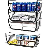 yazi 吊り下げ収納ラック 4個セット 戸棚下収納 キッチンラック 積み重ね可能 調味料・クローゼット 収納ケース 荷…