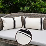 ONWAY Outdoor Pillow Covers Waterproof 12X20 Set of 2 Lumbar Throw Pillow Cover Black and White Striped Outdoor Pillows for P