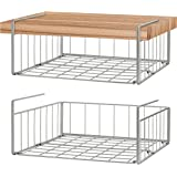 Simple Trending Under Cabinet Organizer Shelf, 2 Pack Wire Rack Hanging Storage Baskets for Kitchen Pantry, Silver