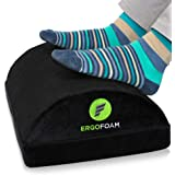 ErgoFoam Adjustable Foot Rest Under Desk for Added Height | Large Premium Velvet Soft Foam Footrest for Desk | Most Comfortab