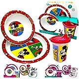 Disney Classic Mickey Baby Toddler Utensil Dinnerware Dish Feeding Set Gift Box including Break Resistant Bowl, Dish Plate, T