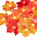 UNEEDE Fall Decor Maple Leaves String Light, Waterproof Thanksgiving Decorations Fall Seasonal Lights 3AA Battery Powered Lig